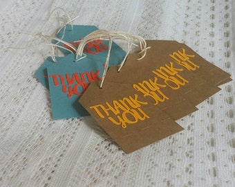 Custom color Thank you tags. Party/shower/gift & favor tags. Customize colors to match your theme.