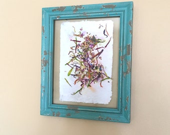 Framed Handmade Paper Art with Flowers, Colorful Confetti, Chic and Shabby Wall Art Decor, Paper Anniversary Gift Ideas, Nature in Things