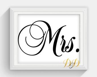 Mr and Mrs. Wedding Sign Table Sign Wedding Sign Table Card Wedding reception decor Signage Printed Wedding Decor Wedding Sign