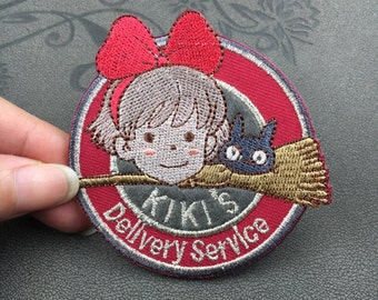 cartoon patch 1989 kikis delivery service Hayao Miyazaki embroidery patches embroidered patch Iron on patch or Sew on patches