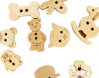 Button, 100pcs , Wooden (plywood) buttons, 2 Holes, Mixed decorative, Fit Sewing