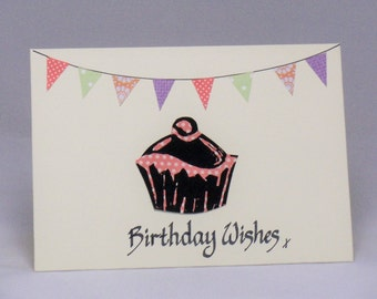 Cake birthday card, cup cake card, cup cake gift, cake card, bunting card, cake lover gift, female birthday, bakers card