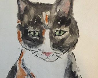 Calico kitty- Original Watercolor Not a print