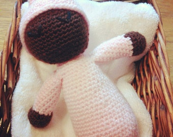 Handmade crochet sleeping baby