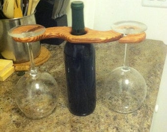 Oak Wine Bottle and Glass Holder