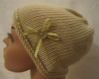 Soft handcrafted hat to provide comfort to people going through chemotherapy or with hair loss.