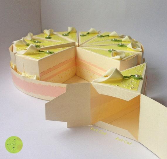 Cardboard Cake Cake Slice Box Birthday Gift by HandiworkByAnn
