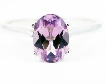 Alexandrite Oval Solitaire Ring, 925 Sterling Silver, Lab Alexandrite Ring, Purple Alexandrite, June Birthstone Ring, Oval Alexandrite Stone