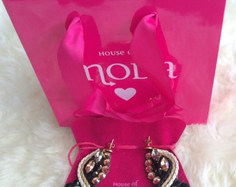 House of MODA, one of a kind Swarovski Crystal and Leather Statement Earrings