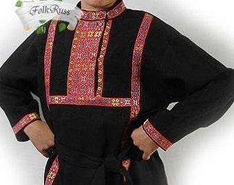 Russian traditional slavic linen shirt Kosovorotka, Slavic shirt, Cossack shirt, Folk shirt, Historcal costume, Eco material shirt