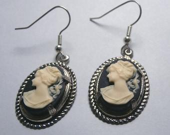 Woman Cameo Go Go Dangle Silver-Plated Earrings