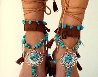 SUMMER SALES Native America leather Sandals, hippie shoes, Gladiator Sandal, boho sandals, Genuine leather shoes, festival sandal