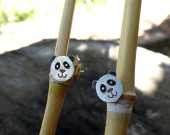 Silver panda earrings, Panda silver earrings, Sterling silver panda earrrings, Gifts for her, Silver stud earrings, Silver bear earrings