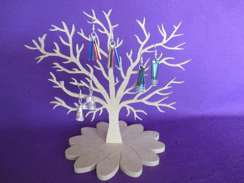 Arbre bijoux en bois m dium 3 mm support m dium 6 mm fleur - Arbre a bijoux en bois ...