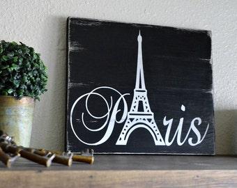 Paris Painted Sign On Wood Mini-Pallets Rustic Home Decor