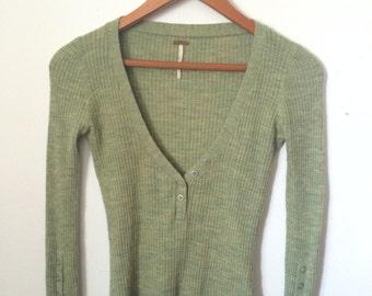 Free People Small/Petite Green Sweater