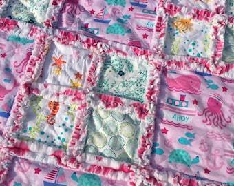 Nautical Ocean Pink Chevron Minky Rag Quilt