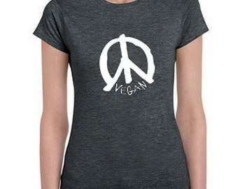 Vegan T-shirt with Vegan Peace Sign - Women's