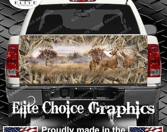 Whitetail Buck Deer Tallgrass Duck Camo Truck Tailgate Wrap Vinyl Graphic Decal Sticker Wrap