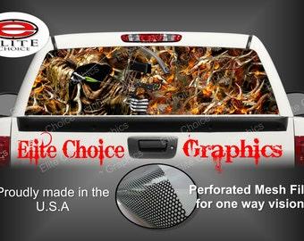 Bow Reaper Obliteration Buck Blaze Camo Rear Window Graphic Tint Decal Sticker Truck SUV Van Car