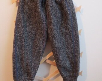 Upcycled Wool Longies, Grey with strips, medium weight