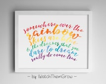 Somewhere Over the Rainbow Watercolour Song Lyrics Wizard of Oz Quote Kids Wall Art Print Printable 8x10 AND 11x14 INSTANT DOWNLOAD