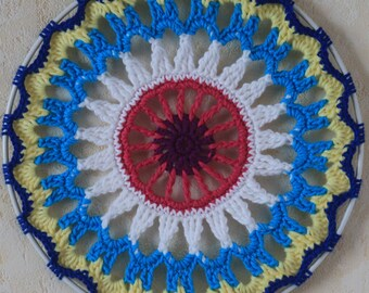 Colorful crocheted mandala Suncatcher