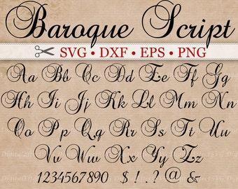 BAROQUE Script Monogram Svg Font; Svg, Dxf, Eps, Png;  Digital Monogram, Calligraphy Script, Cursive Svg Font, Silhouette, Cricut, Cut Files