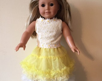 American Girl Yellow Daisy Ruffle Outfit