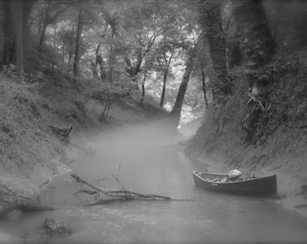 Canoe in Green River Fog