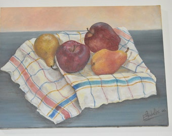 Fruits and still life,  Mele e pere su canovaccio