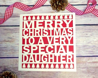 Daughter Christmas Card, Lasercut Christmas Card, Christmas Card for Daughter, Daughter Christmas Gift, Merry Christmas Daughter, Laser cut
