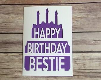 Bestie Birthday Card, BFF Card, Happy Birthday Bestie, Cake Card, Card for Bestie, BFF, Best Friend Card, Card for Friend