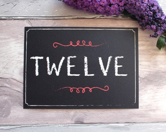 Chalkboard Table Number Cards    Chalkboard Table Name Cards    Reception Stationery   On the Day   Personalised   Customised