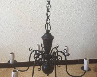 Superb black Dutch chandelier 6 branches