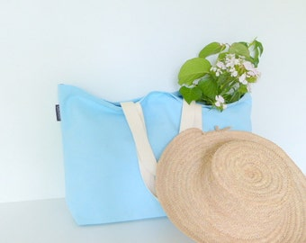 Beach bag - beach bag - blue beach bag - bag in linen and cotton - linen and cotton - Linen - large canvas tote bag - weekend bag - summer bag