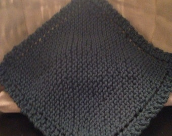 Knit Dish Cloth - Teal/Blue