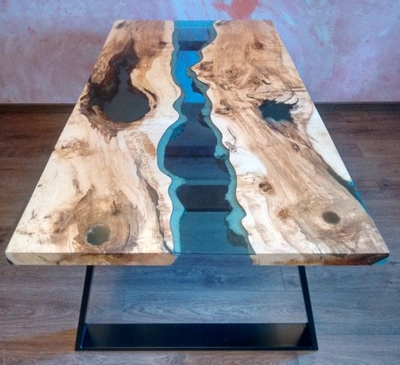 "SOLD Live edge river table ""Blue Valley"" with blue epoxy resin SOLD"