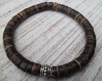 Mens Coconut Bead Bracelet