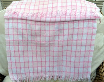 Hand woven Baby blanket - Pink and white