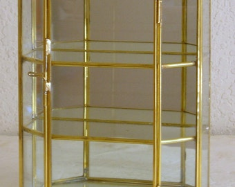 brass and glass small table top curio display cabinet