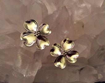 "Vintage sterling Silver Blossom Earrings 3/4"""