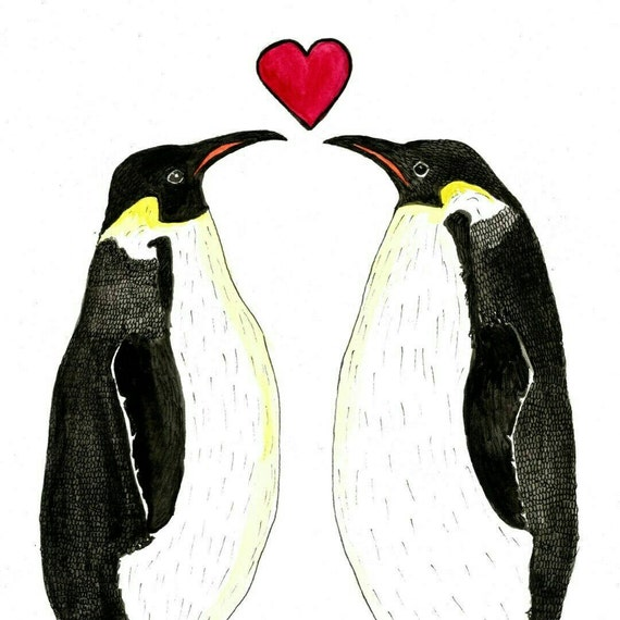 Penguins in love greeting card