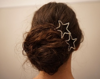 Bridal star hair pins, Bridal star hair piece, Wedding star hair pins, bridal star hair accessory, bridal hair piece, star hair accessories