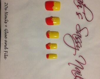 20 orange and lemon handpainted nails