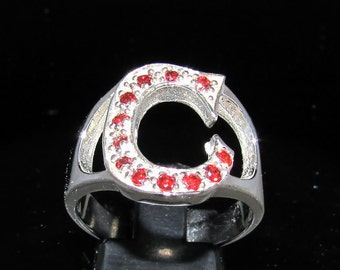 Sterling silver Initial ring capital letter C with 12 red cz's