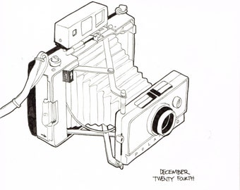 Polaroid Land Camera Drawing