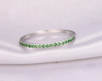 Tsavorite Wedding Ring Half Eternity Green Tsavorite Ring Anniversary Ring 14k White Gold Matching Band Infinity Ring Tsavorite Wedding Band