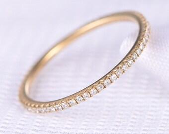 Full Eternity diamond THIN Wedding ring,Anniversary ring,14k Yellow gold,Infinity Ring,Matching Band,Personalized for her/him,Custom ring