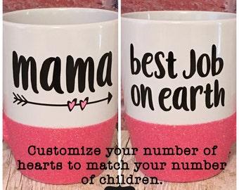 Glitter Mug, Mama mug, mother's day, mother's day gift, mom, Momma, Arrow, heart